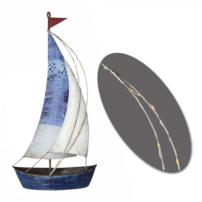 Decoratiune SAILING BOAT, metal, 60x29x13 cm 0