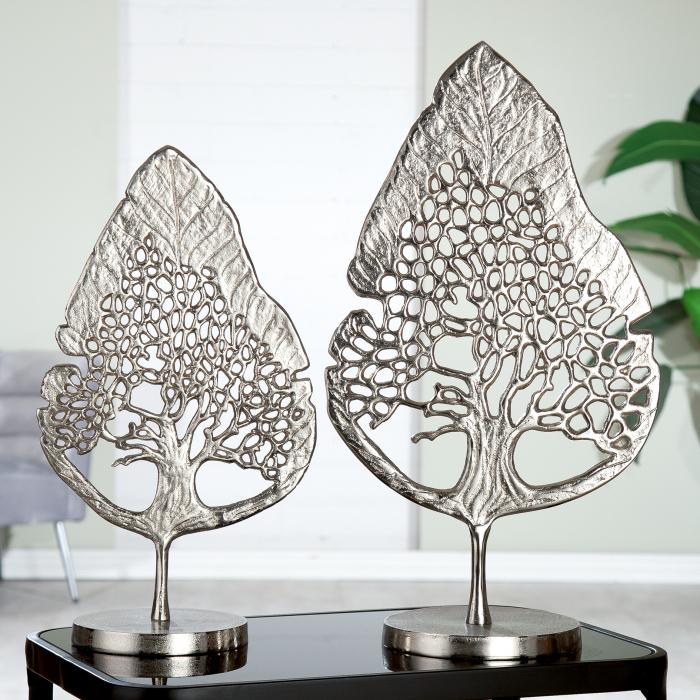 Decoratiune Tree, aluminiu, argintiu, 28x51 cm 0