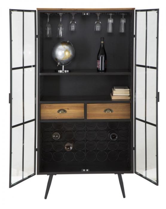 Dulap cu suport de sticle de vin IRON SCHOOL  (cm) 81X42X162,5 4