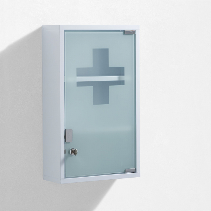 Dulap de perete de prim ajutor HEALT, Otel Sticla, Alb, 30x12x50 cm imagine 2021 lotusland.ro