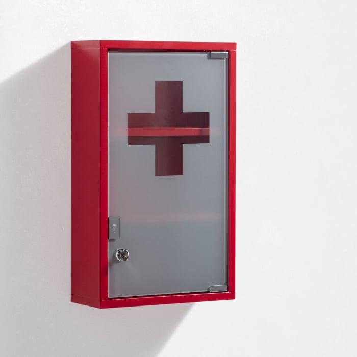 Dulap de perete de prim ajutor HEALT, Otel Sticla, Rosu, 30x12x50 cm imagine 2021 lotusland.ro