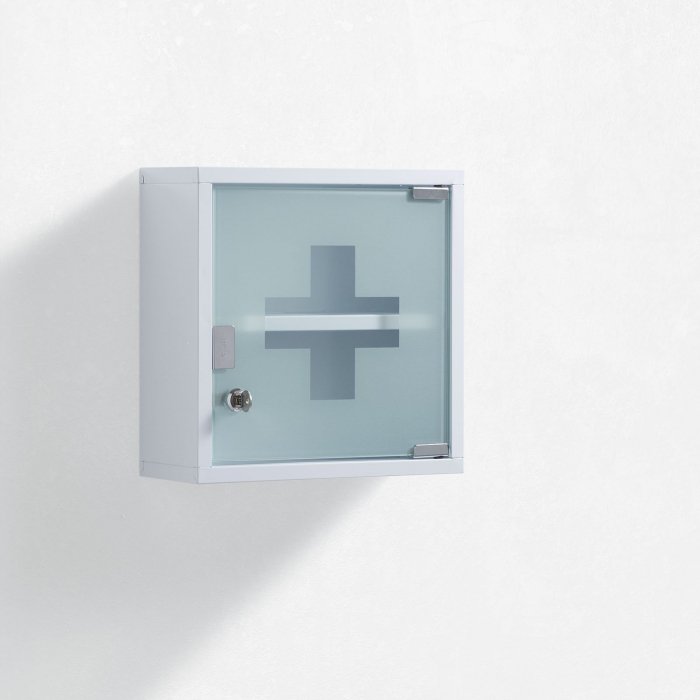 Dulap de perete de prim ajutor S.O.S, Otel Sticla, Alb, 30x12x30 cm imagine 2021 lotusland.ro