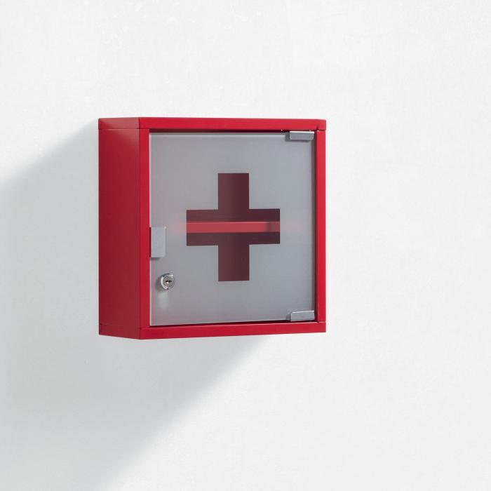 Dulap de perete de prim ajutor S.O.S, Otel Sticla, Rosu, 30x12x30 cm imagine 2021 lotusland.ro