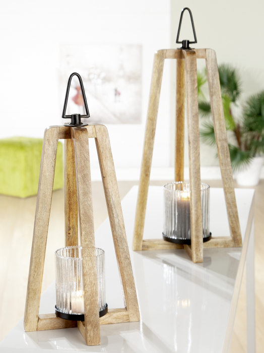 Felinar TRANGOLO, lemn, 20x37x20 cm 1