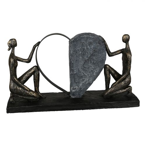 Figurina Affair of the heart, rasina, bronz gri, 10x38x21 cm lotusland.ro