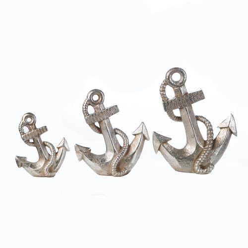 Figurina anchor, ceramica, argintiu, 6x21x25 cm lotusland.ro