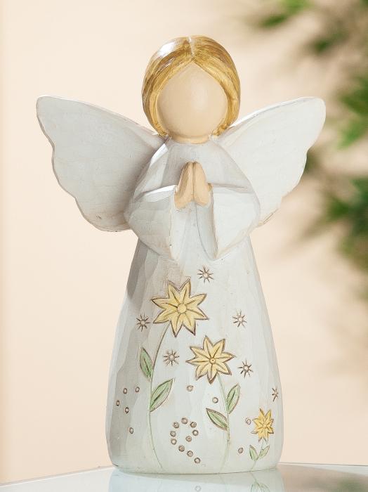 Figurina Angel heavenly, rasina, bej, 14.5x10 cm 2021 lotusland.ro