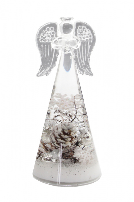 Figurina ANGEL winter, sticla, 15.5x7.5 cm lotusland.ro