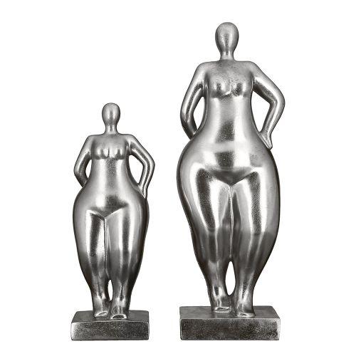 Figurina Ballerina, rasina, argintiu, 10x11x30 cm imagine 2021 lotusland.ro