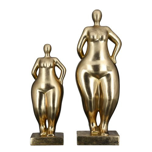 Figurina Ballerina, rasina, auriu, 10x11x30 cm lotusland.ro