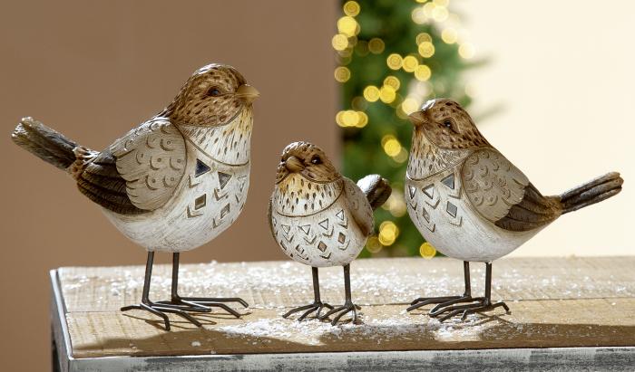 Figurina bird Birdy, rasina, bej maro, 13x12x6 cm lotusland.ro