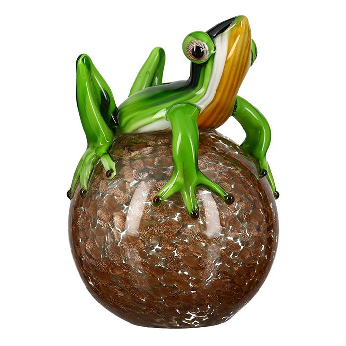 Figurina broasca pe minge, sticla, multicolor, 17x13 cm 2021 lotusland.ro