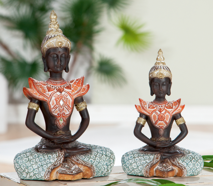 Figurina Buddha Burma, rasina, multicolor, 11x17x6.5 cm imagine 2021 lotusland.ro