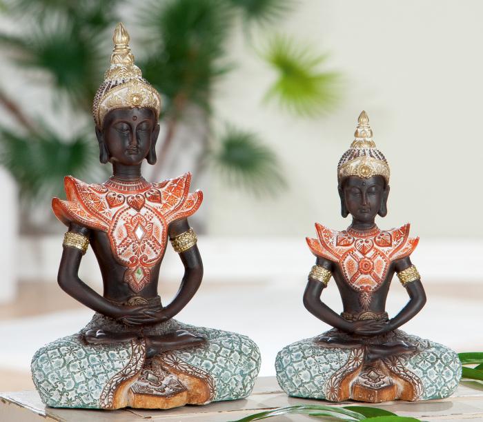 Figurina Buddha Burma, rasina, multicolor, 14x22x9.5 cm lotusland.ro