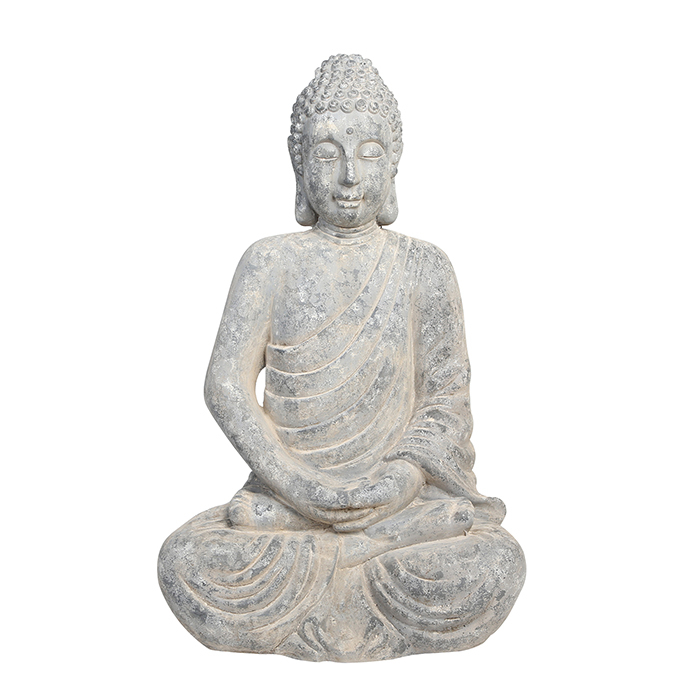 Figurina Buddha, compozit, gri, 39x58x90 cm imagine 2021 lotusland.ro