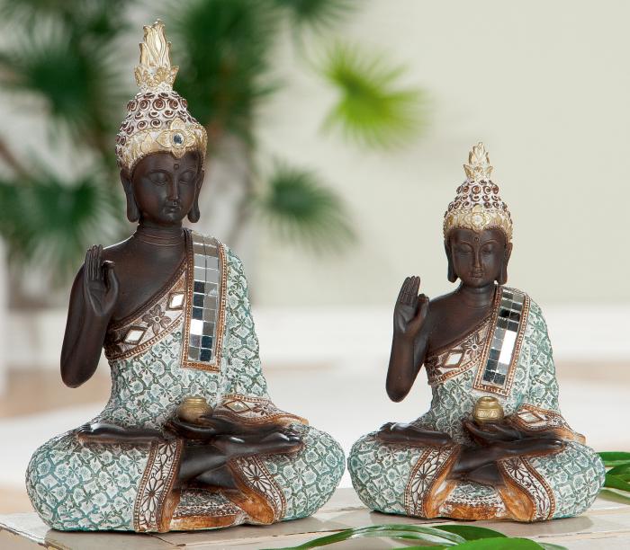 Figurina Buddha Rangun, rasina, multicolor, 11x16x6.5 cm lotusland.ro