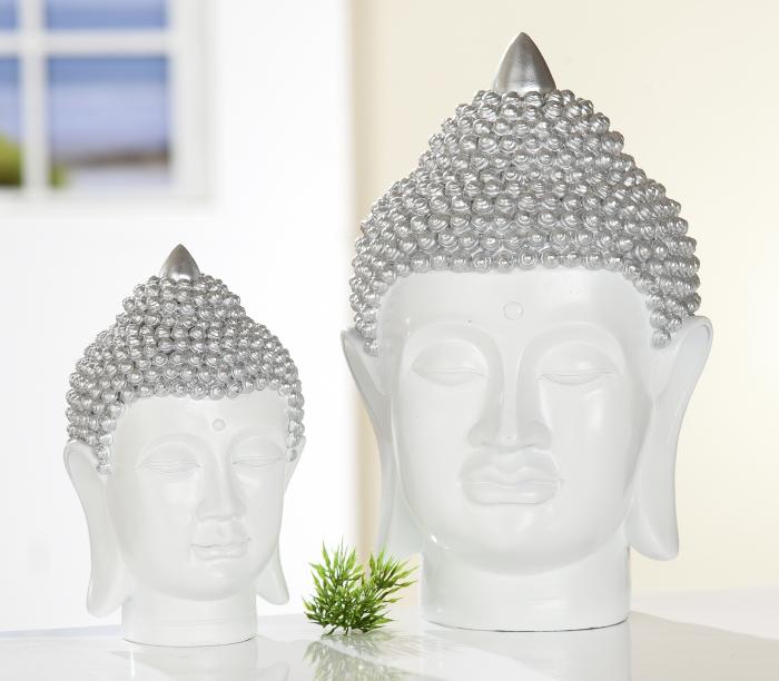 Figurina Buddha, rasina, alb argintiu, 10x17x11 cm imagine 2021 lotusland.ro
