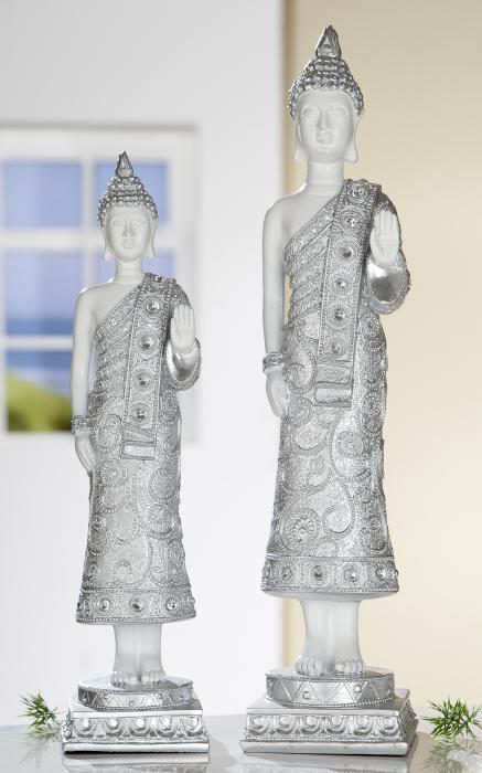 Figurina Buddha, rasina, alb argintiu, 11x46x12 cm imagine 2021 lotusland.ro