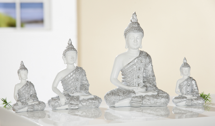 Figurina Buddha, rasina, alb argintiu, 17x24x10 cm imagine 2021 lotusland.ro