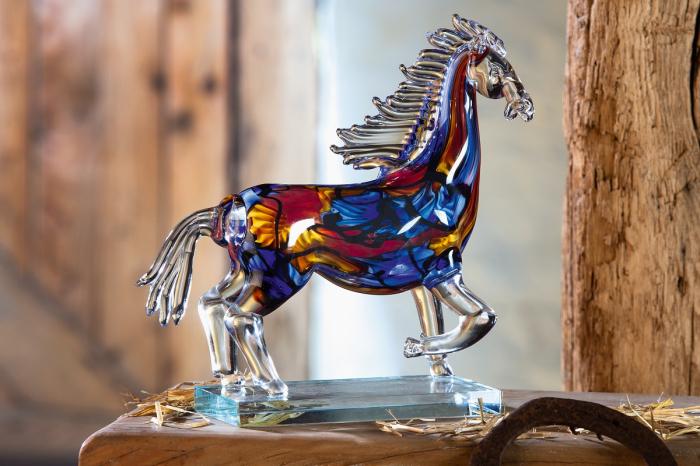 Figurina Cavallo, sticla, multicolor, 37x28x8 cm lotusland.ro