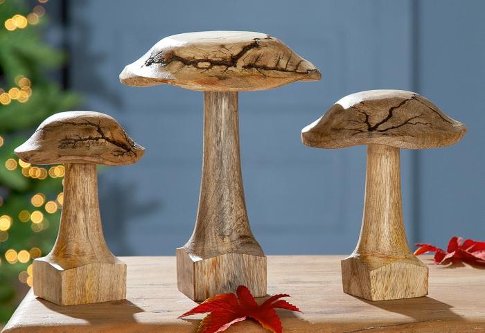 Figurina ciuperca Rustik, lemn, maro, 10x14x10 cm 2021 lotusland.ro