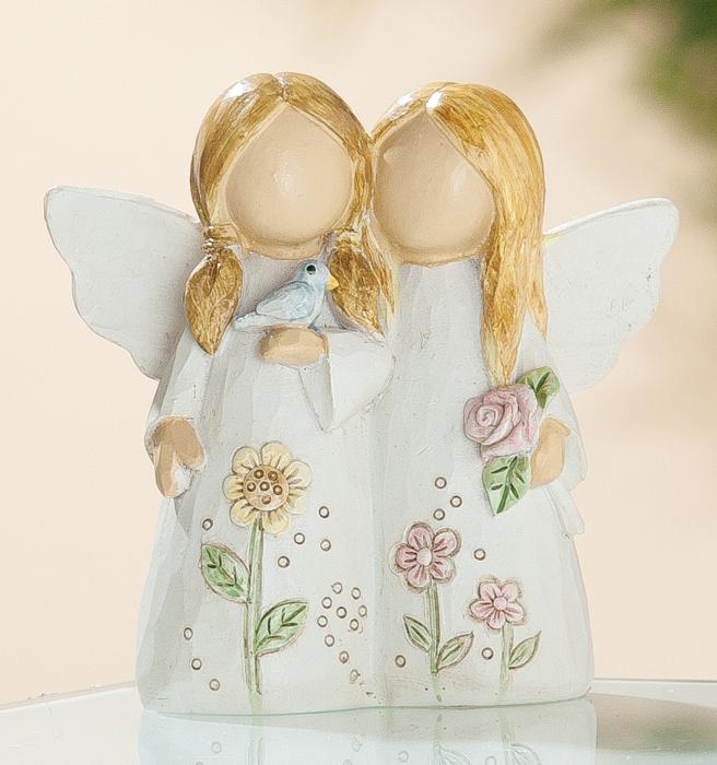 Figurina couple of angels heavenly, rasina, bej, 4x8x8 cm lotusland.ro