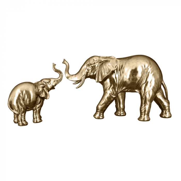 Figurina elefant Jumbo, rasina, auriu, 20x21x9 cm imagine 2021 lotusland.ro