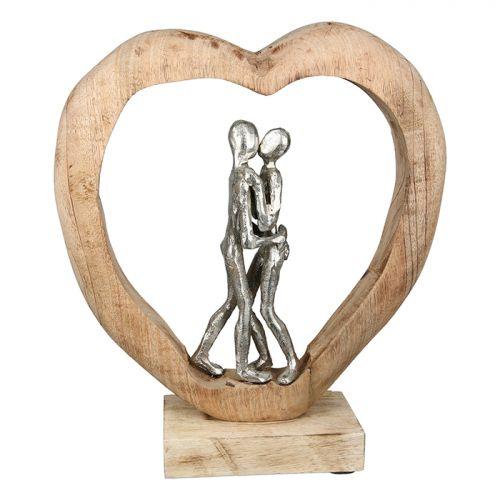 Figurina first kiss, aluminiu lemn, argintiu maro, 10x29x34 cm 2021 lotusland.ro
