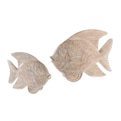 Figurina fish, rasina, maro crem, 7x25x20 cm 2021 lotusland.ro