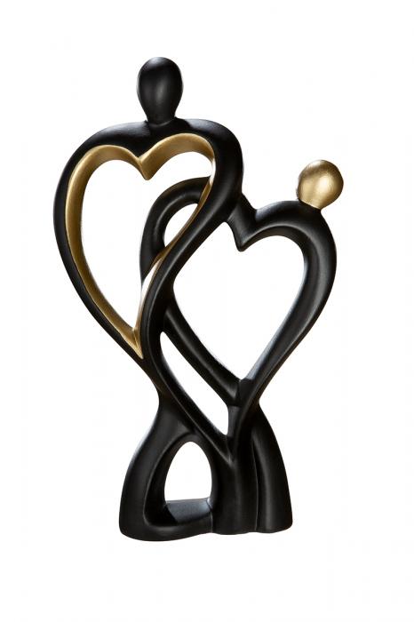 Figurina Francis Couple Heart, ceramica, negru auriu, 18x9x28 cm lotusland.ro