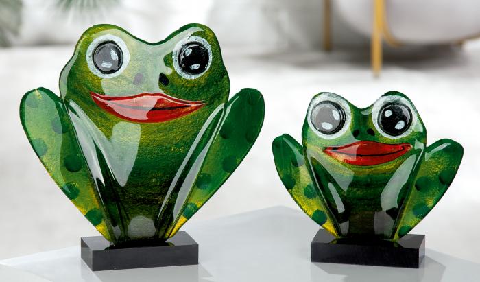 Figurina Frog, Sticla, Multicolor, 18x16x5 cm