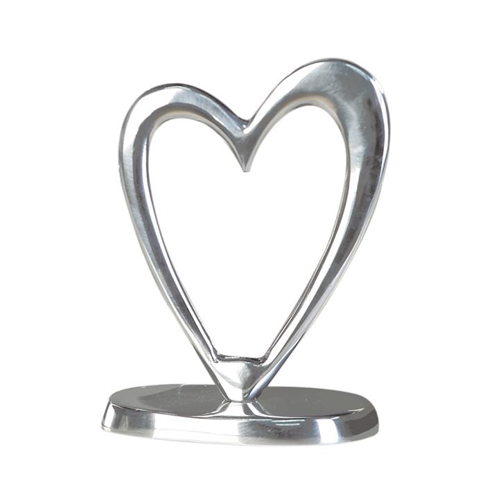 Figurina Heart, aluminiu, argintiu, 28x20x8 cm imagine 2021 lotusland.ro