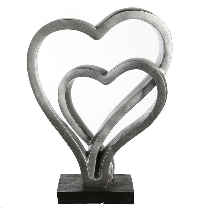Figurina Hearts rasina, argintiu antichizat, 30x23x8 cm imagine 2021 lotusland.ro