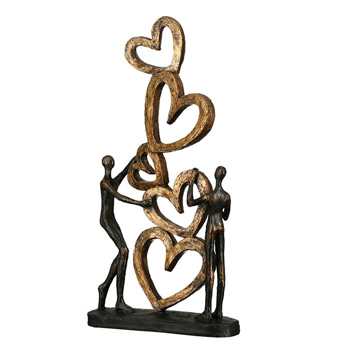 Figurina Hearts, rasina, auriu argintiu, 41x21x6.5 cm imagine 2021 lotusland.ro