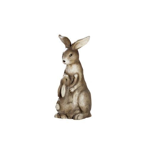 Figurina iepure cu copil, compozit, maro, 16x40x23 cm lotusland.ro
