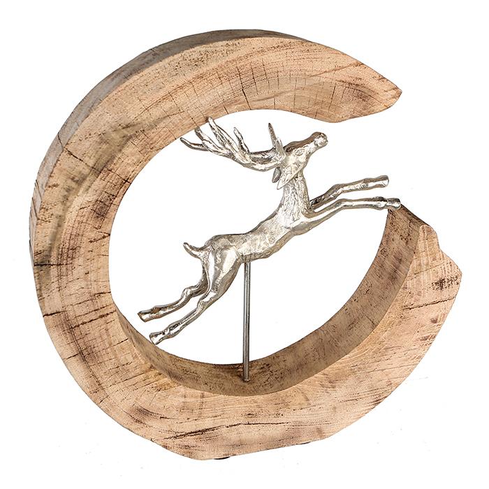 Figurina Jumping Deer lemn mango aluminiu, 36x36x7 cm lotusland.ro