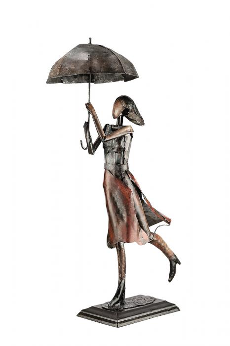 Figurina lucrata manual, PARASOL WOMAN, metal, 70x22x34 cm lotusland.ro
