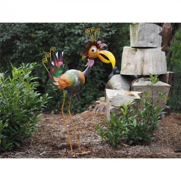 Figurina metal Colourful bird, 53x25x61 cm lotusland.ro