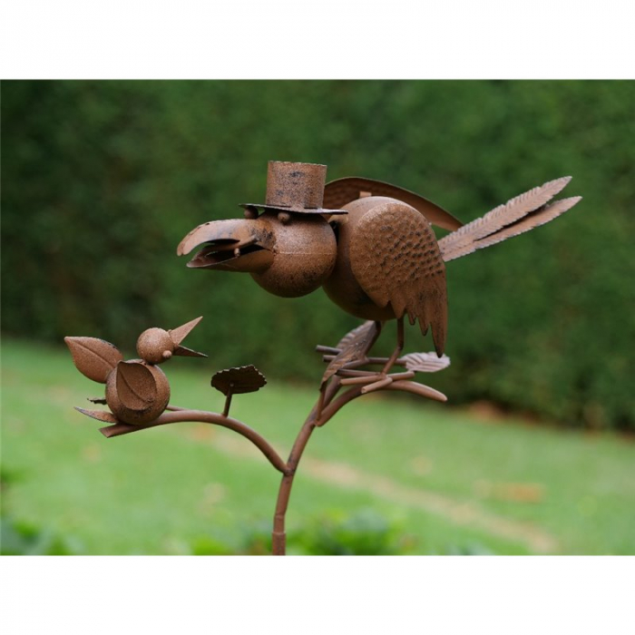 Figurina metal Crow moving head, 130x31x28 cm imagine 2021 lotusland.ro