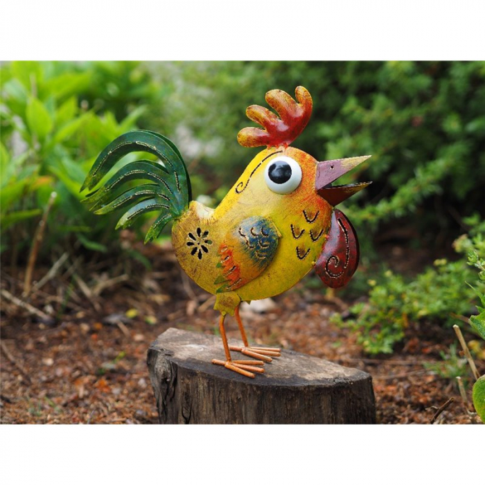 Figurina metal Funny chicken, 32x10x35 cm 2021 lotusland.ro