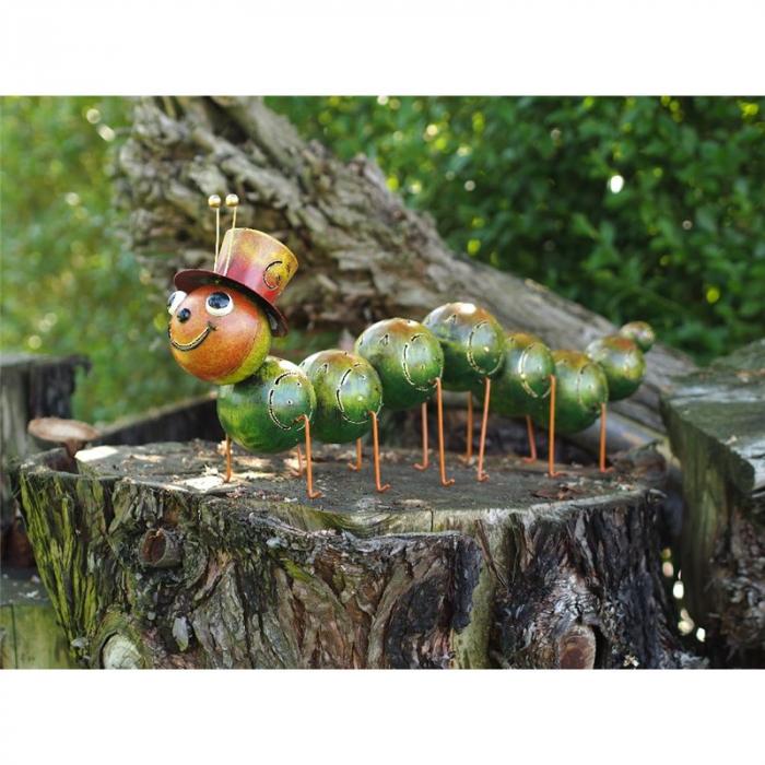 Figurina metal Large caterpillar with hat, 30x15x75 cm imagine 2021 lotusland.ro