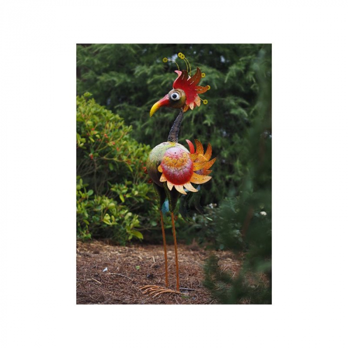 Figurina metal Large colourful bird, 120x50x25 cm 2021 lotusland.ro