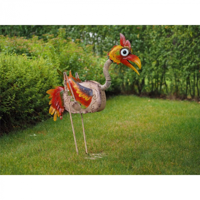 Figurina metal Large colourful bird (cream), 100x32x82 cm 2021 lotusland.ro