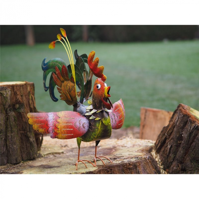 Figurina metal Large rooster, 58x18x65 cm imagine 2021 lotusland.ro