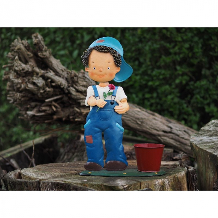 Figurina metal Metal Boy with Pot Decoration, 46x13x30 cm 2021 lotusland.ro
