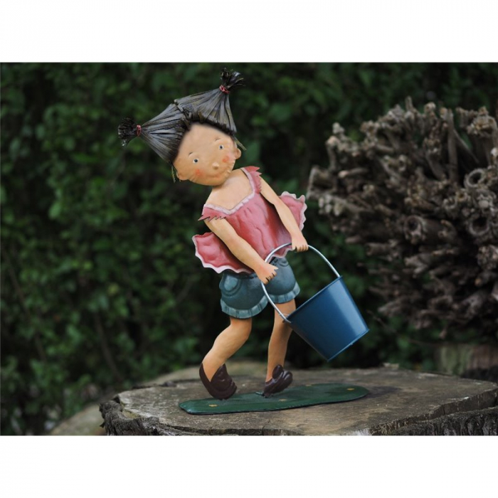 Figurina metal Metal Girl with Pot Decoration, 47x13x36 cm 2021 lotusland.ro
