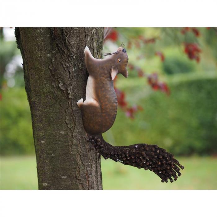 Figurina metal Metal Squirrel Tree Decoration, 34x4x30 cm lotusland.ro