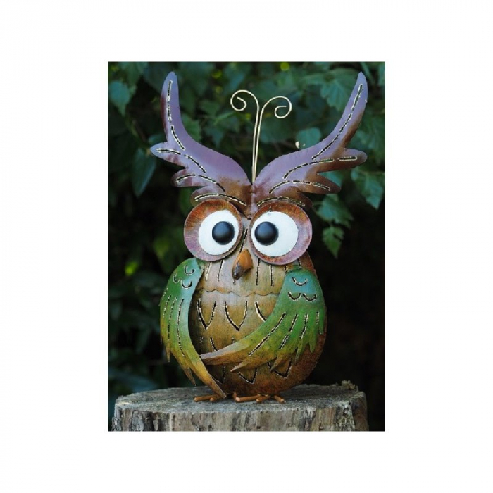 Figurina metal Owl candle holder, 38x10x22 cm lotusland.ro