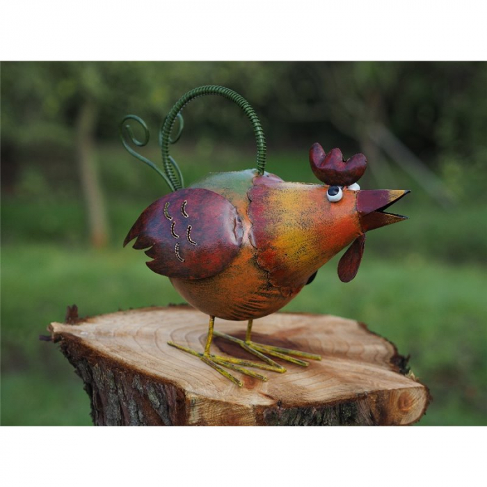 Figurina metal Watering can chicken, 28x19x35 cm lotusland.ro