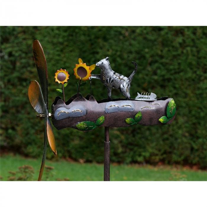 Figurina metal Whirlygig cat and flowers, 143x39x39 cm lotusland.ro